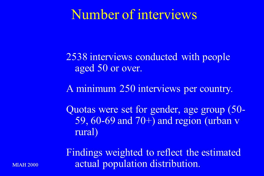 Number of interviews 2538 interviews conducted with people aged 50 or over.