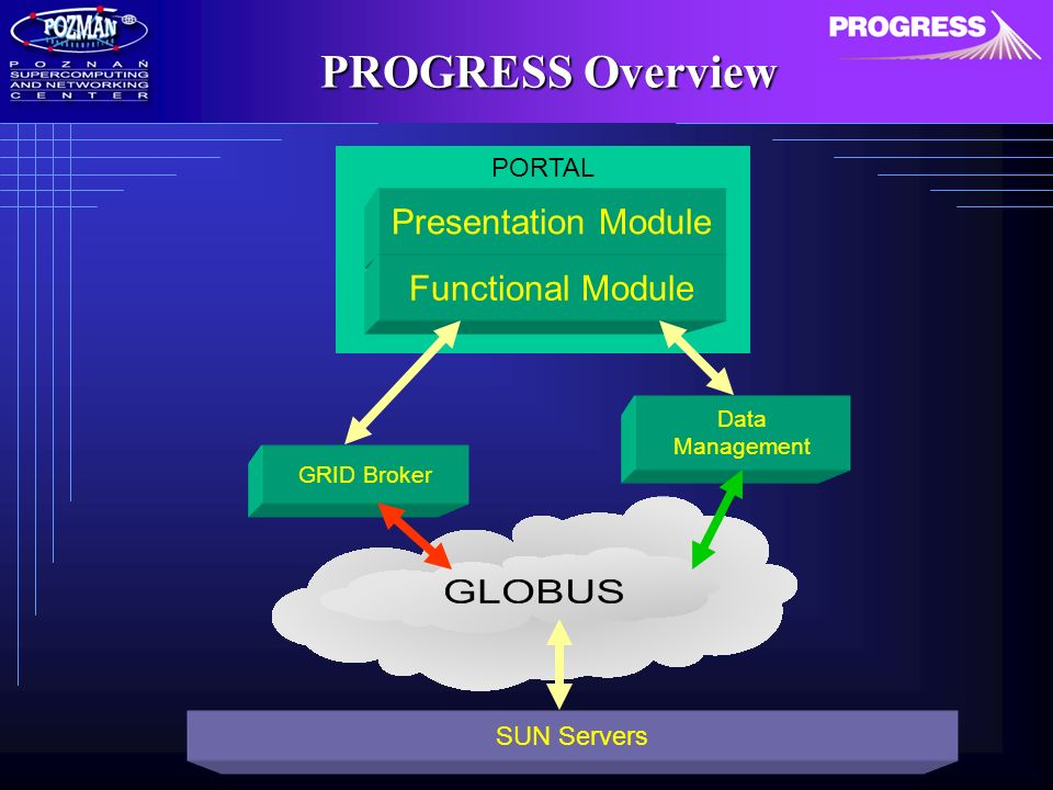 PROGRESS Overview PORTAL Presentation Module GRID Broker Data Management SUN Servers Functional Module