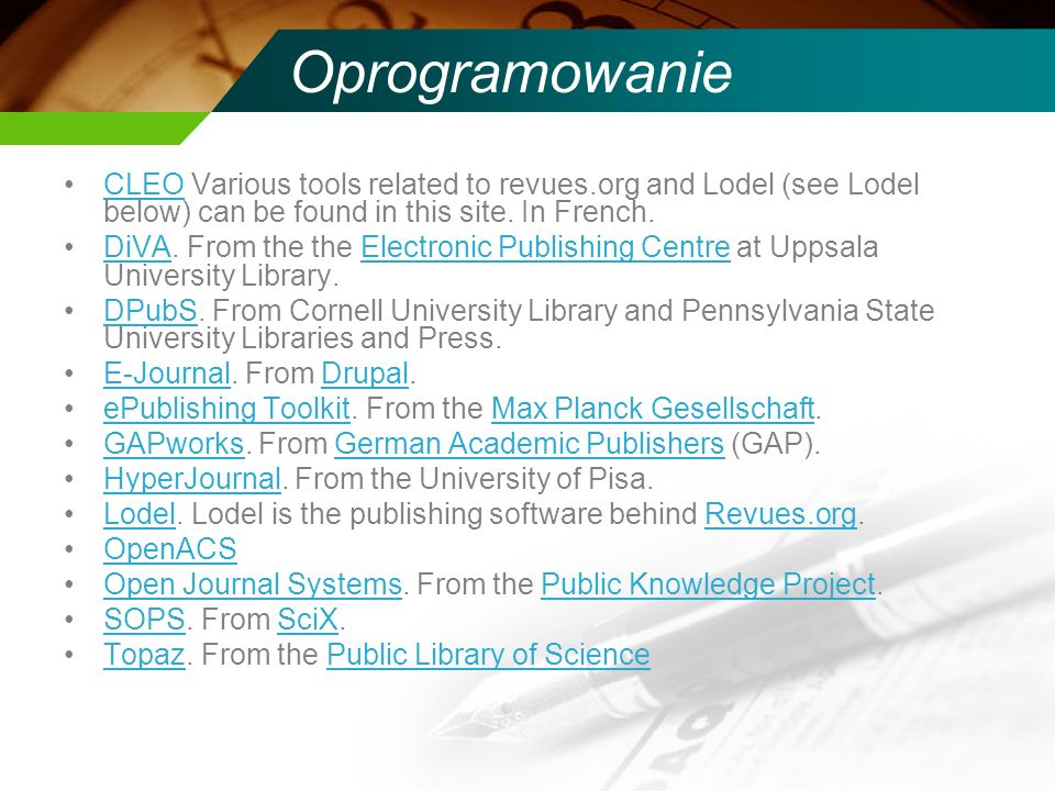 Oprogramowanie CLEO Various tools related to revues.org and Lodel (see Lodel below) can be found in this site.