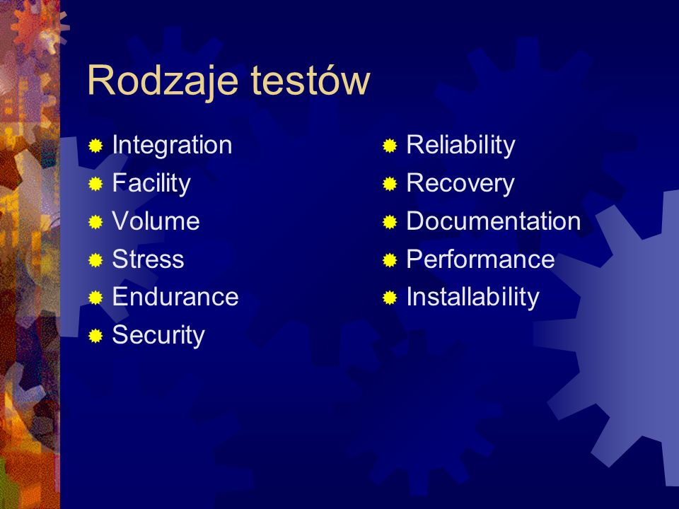 Rodzaje testów Integration Facility Volume Stress Endurance Security Reliability Recovery Documentation Performance Installability