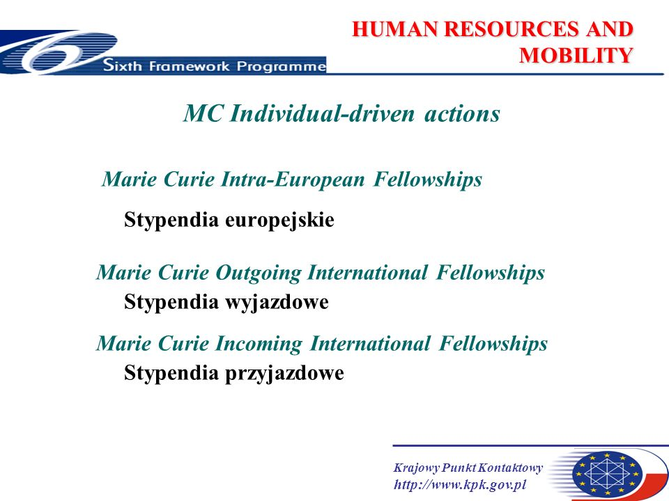 Krajowy Punkt Kontaktowy   HUMAN RESOURCES AND MOBILITY MC Individual-driven actions Marie Curie Intra-European Fellowships Stypendia europejskie Marie Curie Outgoing International Fellowships Stypendia wyjazdowe Marie Curie Incoming International Fellowships Stypendia przyjazdowe