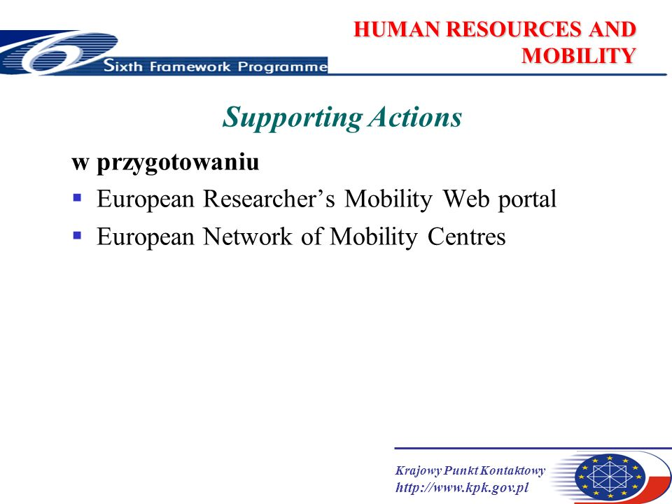 Krajowy Punkt Kontaktowy   HUMAN RESOURCES AND MOBILITY Supporting Actions w przygotowaniu European Researchers Mobility Web portal European Network of Mobility Centres