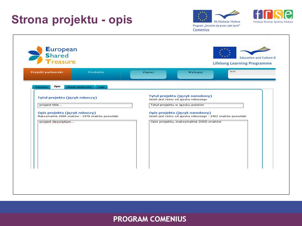 PROGRAM COMENIUS Strona projektu - opis