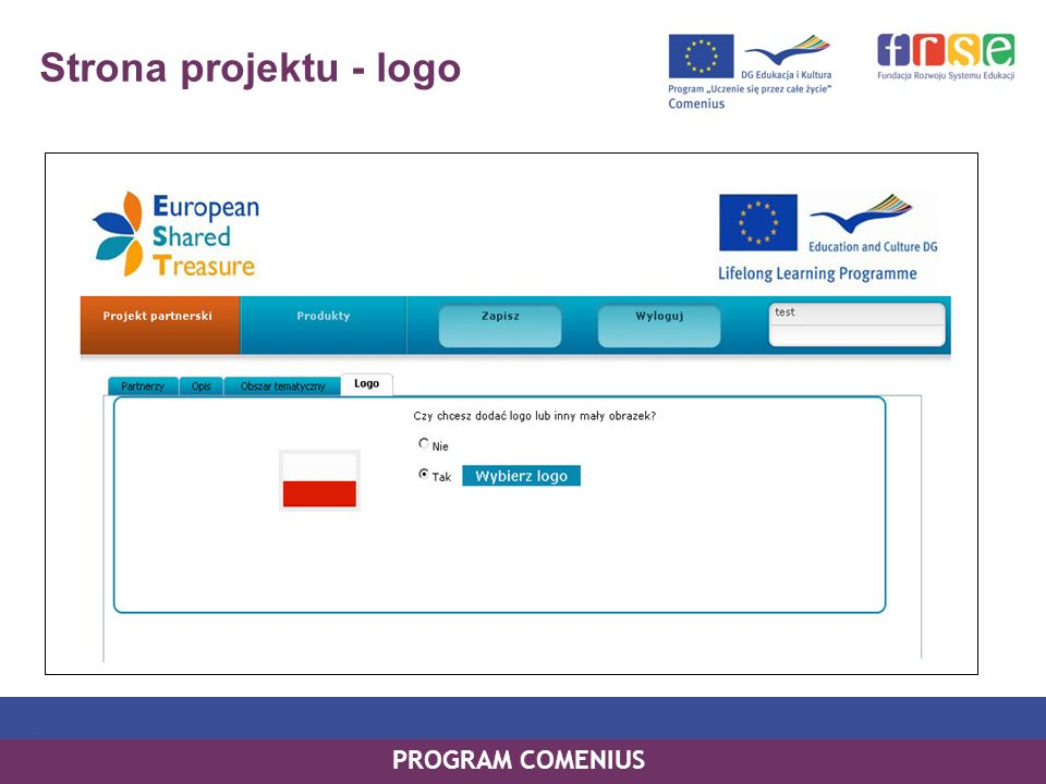 PROGRAM COMENIUS Strona projektu - logo