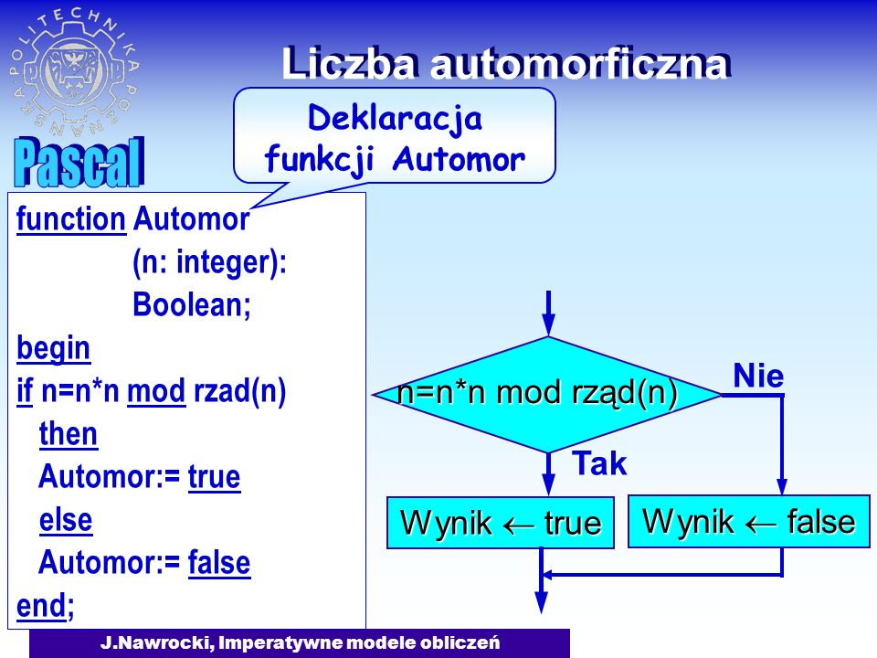 J.Nawrocki, Imperatywne modele obliczeń Liczba automorficzna Tak Wynik true Nie Wynik false n=n*n mod rząd(n) function Automor (n: integer): Boolean; begin if n=n*n mod rzad(n) then Automor:= true else Automor:= false end; Deklaracja funkcji Automor