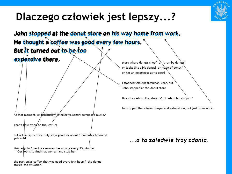 Dlaczego człowiek jest lepszy.... John stopped at the donut store on his way home from work.