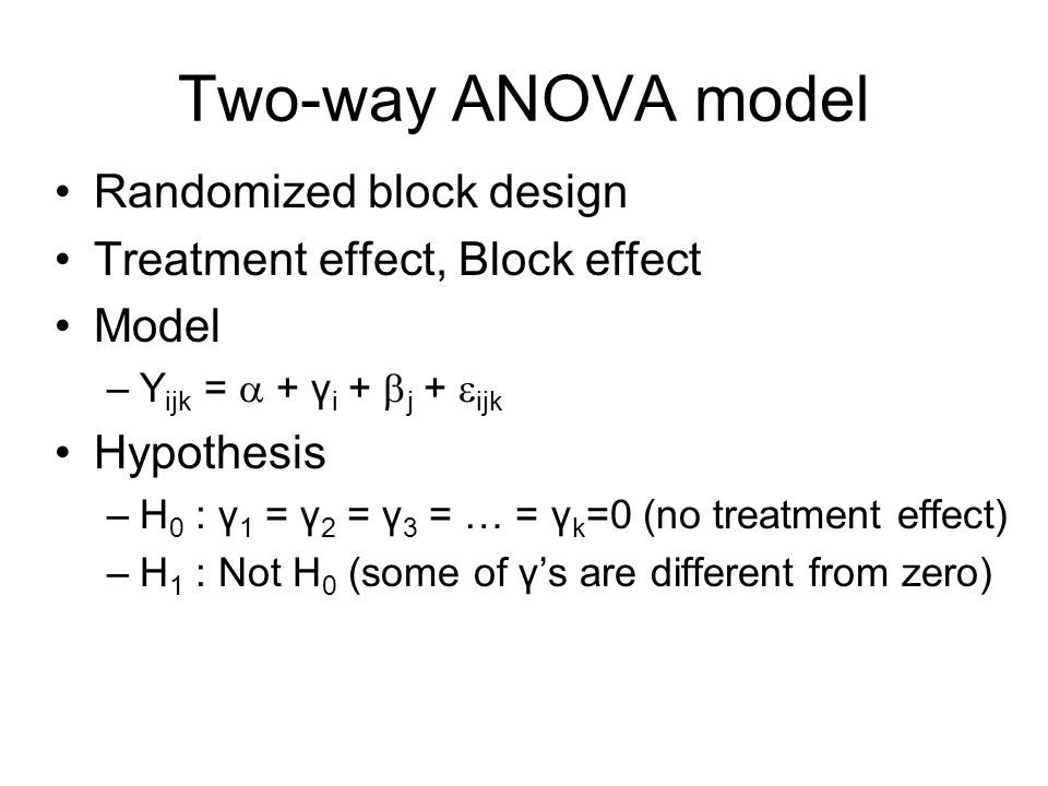 Two-way ANOVA model Randomized block design Treatment effect, Block effect Model –Y ijk = + γ i + j + ijk Hypothesis –H 0 : γ 1 = γ 2 = γ 3 = … = γ k =0 (no treatment effect) –H 1 : Not H 0 (some of γs are different from zero)