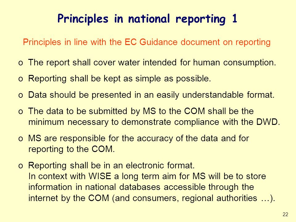 22 Principles in national reporting 1 Principles in line with the EC Guidance document on reporting o The report shall cover water intended for human consumption.