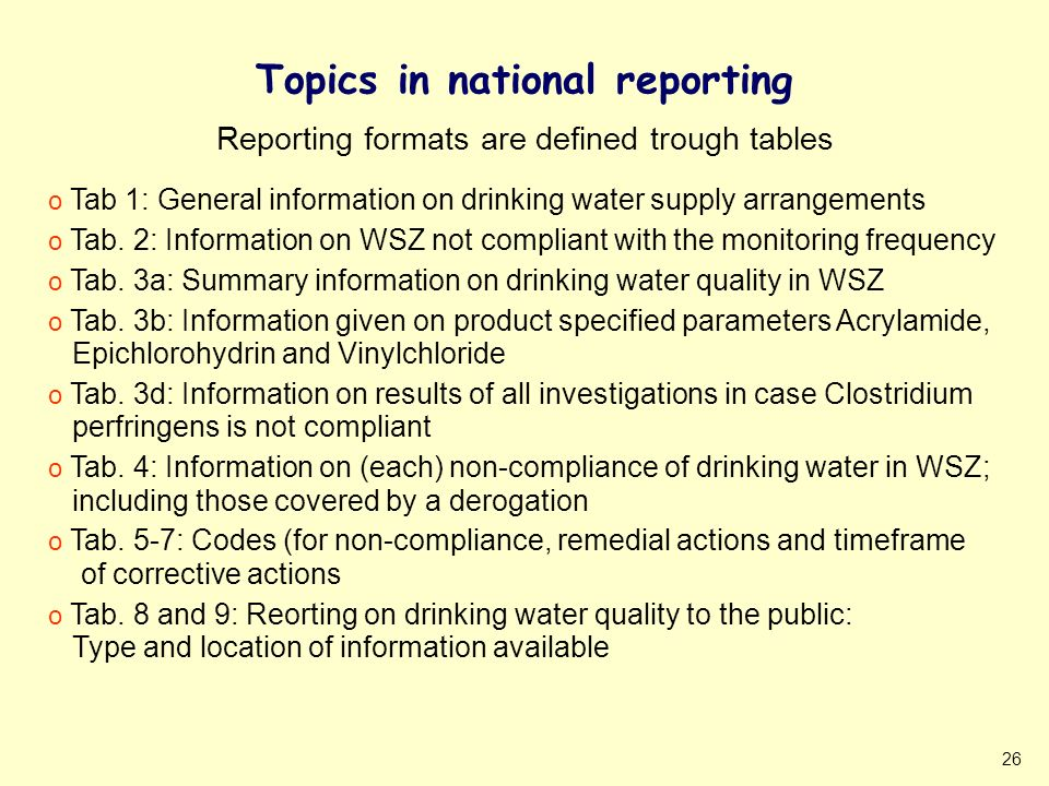 26 Topics in national reporting o Tab 1: General information on drinking water supply arrangements o Tab.