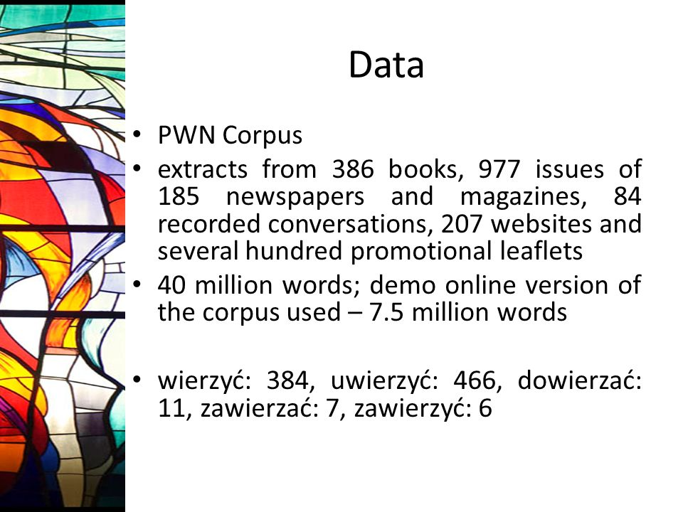 Data PWN Corpus extracts from 386 books, 977 issues of 185 newspapers and magazines, 84 recorded conversations, 207 websites and several hundred promotional leaflets 40 million words; demo online version of the corpus used – 7.5 million words wierzyć: 384, uwierzyć: 466, dowierzać: 11, zawierzać: 7, zawierzyć: 6