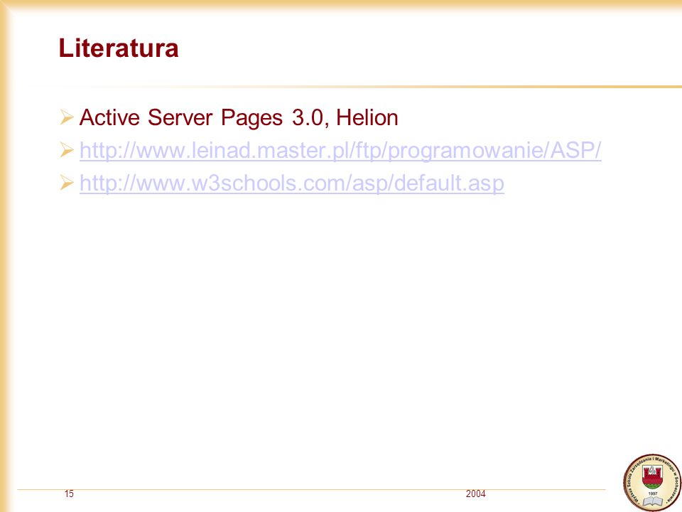 Literatura Active Server Pages 3.0, Helion