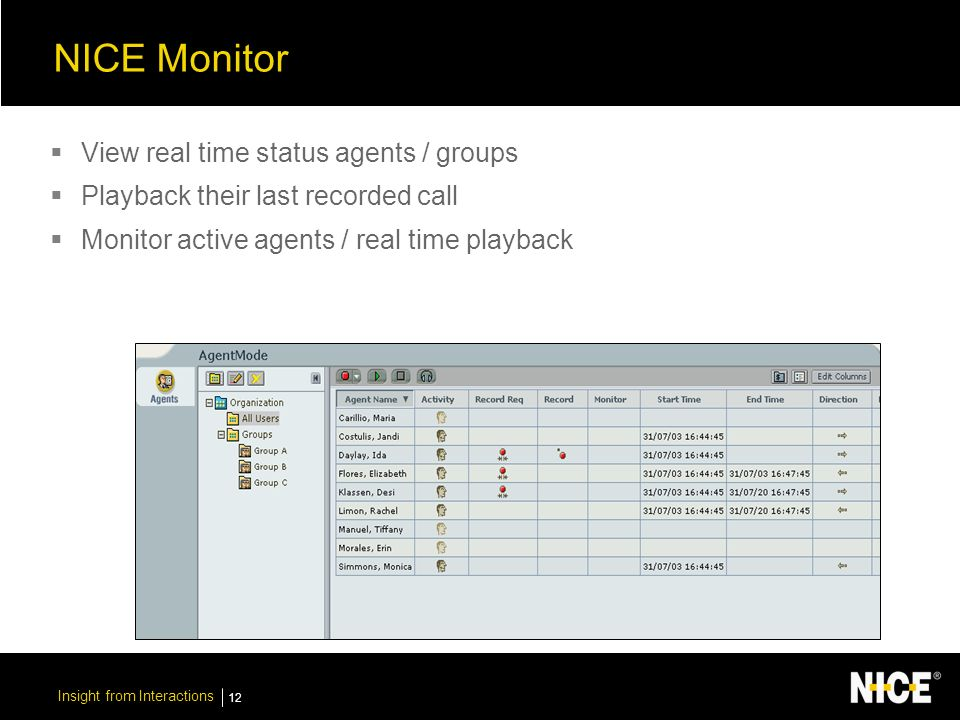Insight from Interactions 12 NICE Monitor View real time status agents / groups Playback their last recorded call Monitor active agents / real time playback