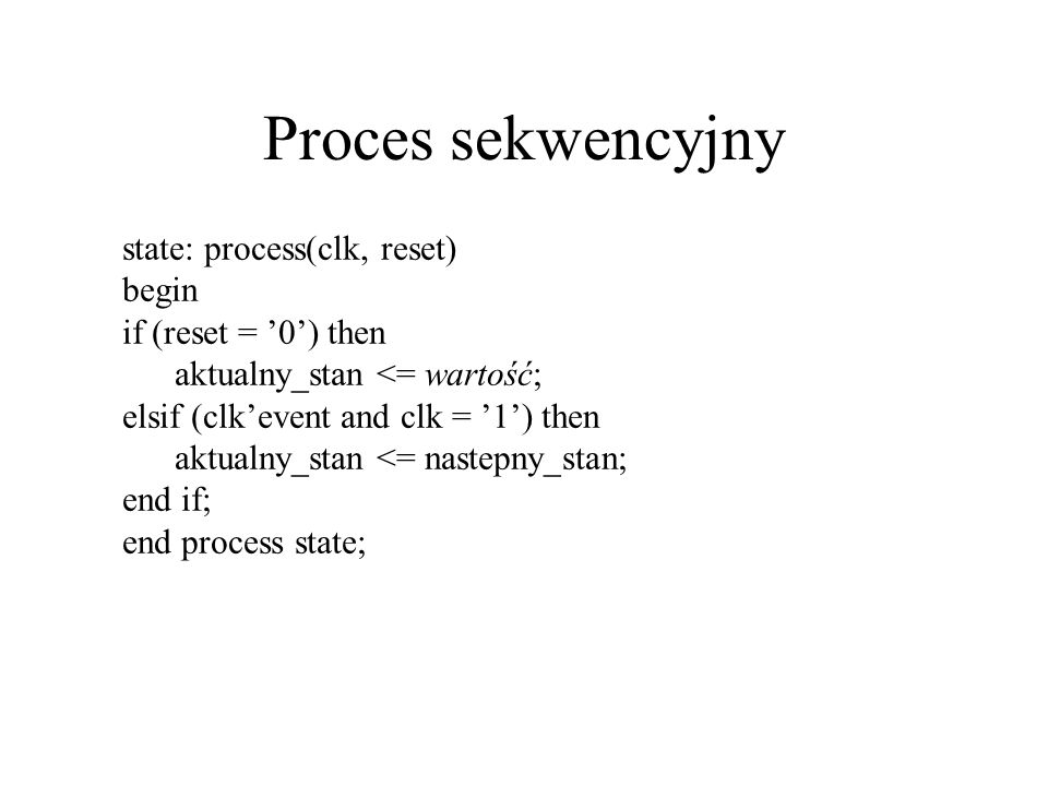 Proces sekwencyjny state: process(clk, reset) begin if (reset = 0) then aktualny_stan <= wartość; elsif (clkevent and clk = 1) then aktualny_stan <= nastepny_stan; end if; end process state;