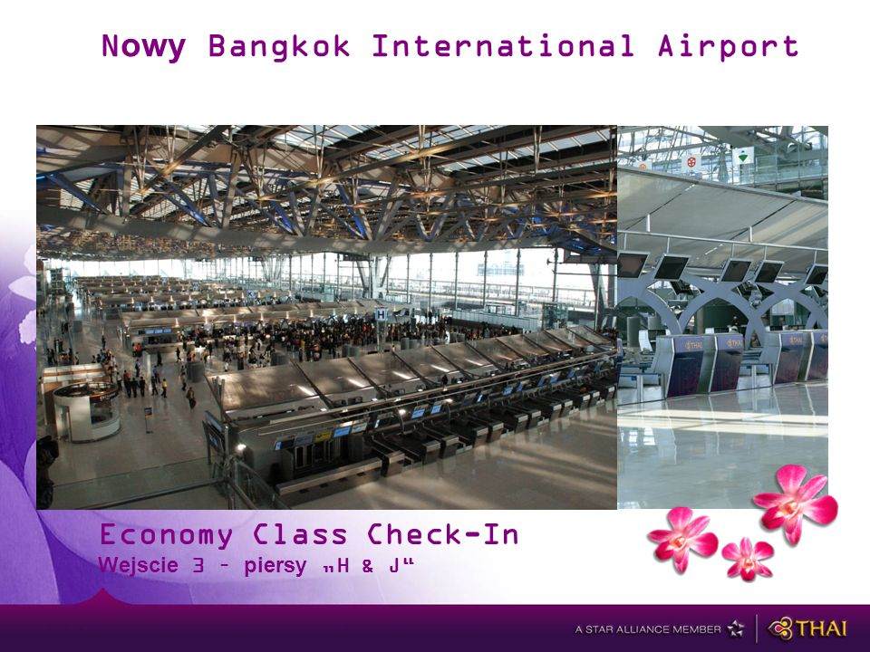 Nowy Bangkok International Airport Economy Class Check-In Wejscie 3 – piersy H & J