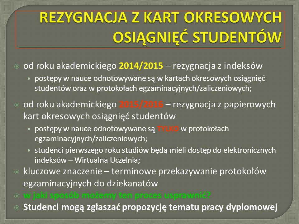 Rezygnacja Z Kart Okresowych Osiagniec Studentow Przeglad I