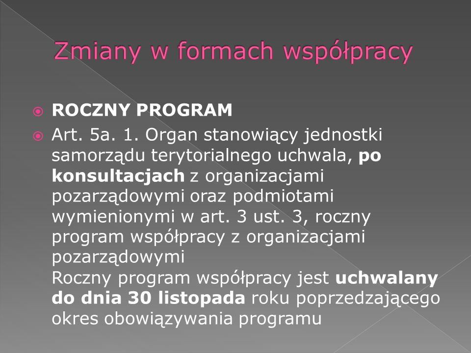 ROCZNY PROGRAM Art. 5a. 1.