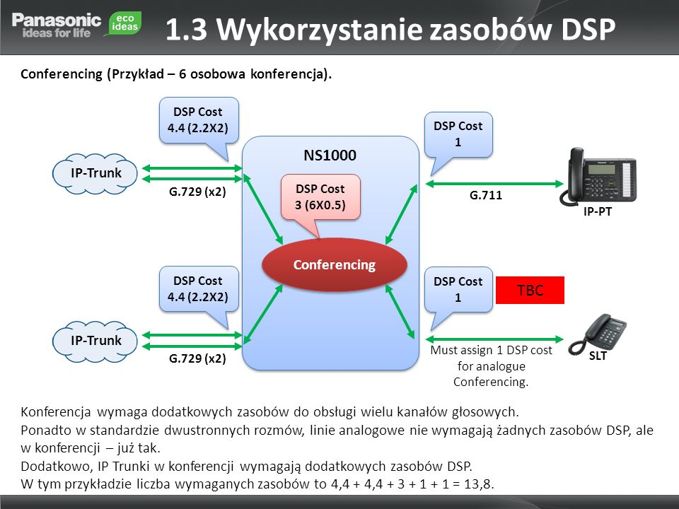 NS1000 IP-PT G.729 (x2) G.711 G.729 (x2) SLT Conferencing Must assign 1 DSP cost for analogue Conferencing.