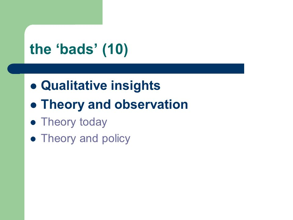 the bads (10) Qualitative insights Theory and observation Theory today Theory and policy