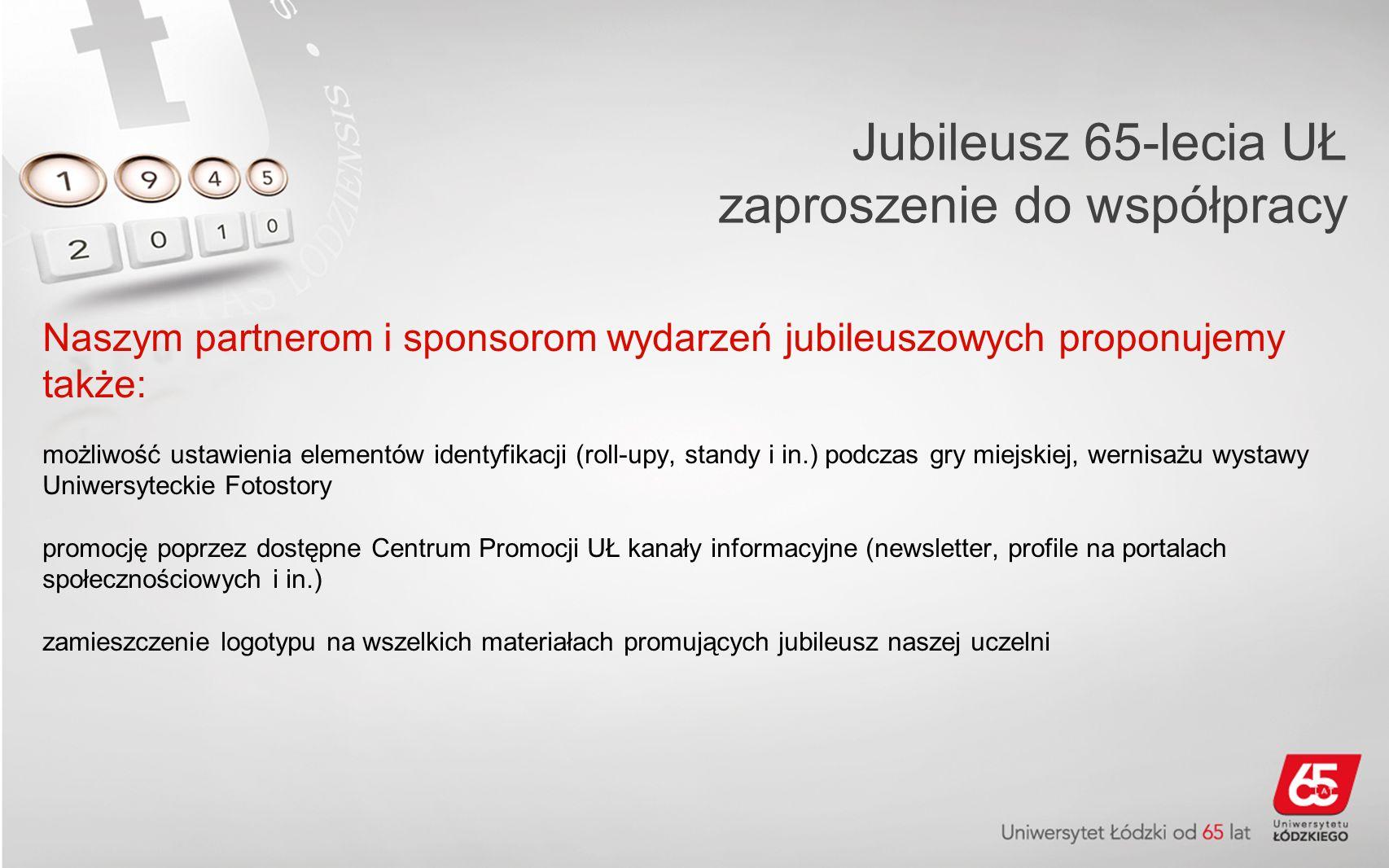 Jubileusz 65 Lecia Uł Zaproszenie Do Współpracy Szanowni Państwo