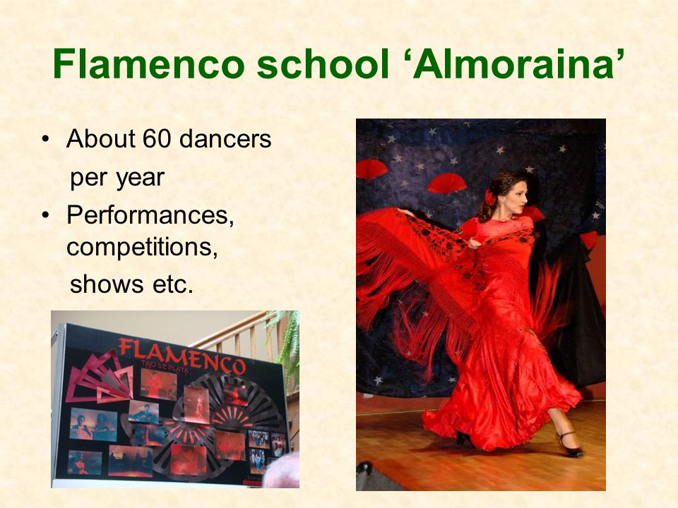 Flamenco school Almoraina About 60 dancers per year Performances, competitions, shows etc.