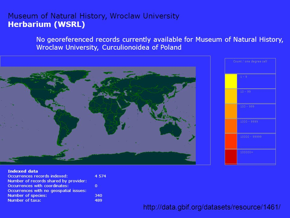 Museum of Natural History, Wroclaw University Herbarium (WSRL) http://data.gbif.org/datasets/resource/1461/ Count / one degree cell 1 - 9 10 - 99 100 - 999 1000 - 9999 10000 - 99999 100000+ Indexed data Occurrences records indexed:4 574 Number of records shared by provider: Occurrences with coordinates:0 Occurrences with no geospatial issues: Number of species:340 Number of taxa:489 No georeferenced records currently available for Museum of Natural History, Wroclaw University, Curculionoidea of Poland