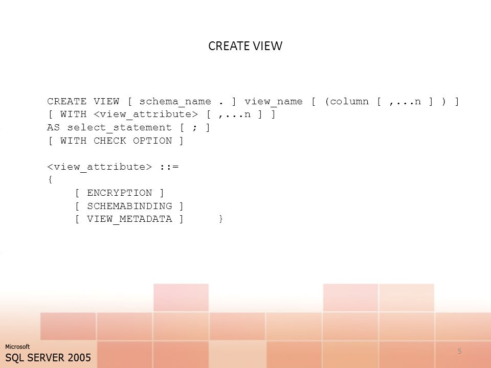 CREATE VIEW 5 CREATE VIEW [ schema_name.