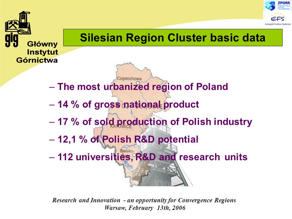 Research and Innovation - an opportunity for Convergence Regions Warsaw, February 13th, 2006 – The most urbanized region of Poland – 14 % of gross national product – 17 % of sold production of Polish industry – 12,1 % of Polish R&D potential – 112 universities, R&D and research units Silesian Region Cluster basic data