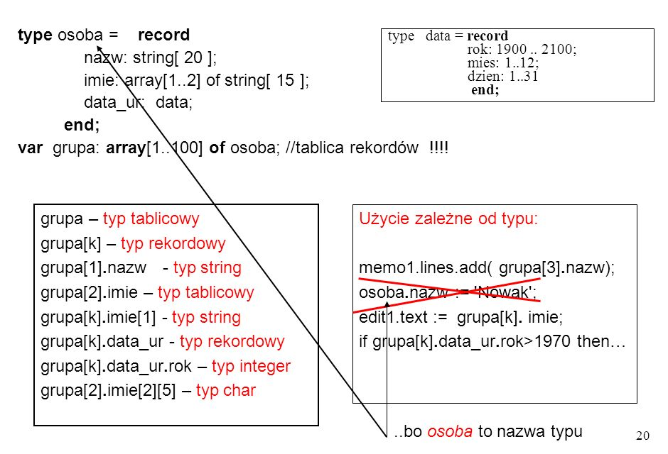 20 type osoba = record nazw: string[ 20 ]; imie: array[1..2] of string[ 15 ]; data_ur: data; end; var grupa: array[1..100] of osoba; //tablica rekordów !!!.