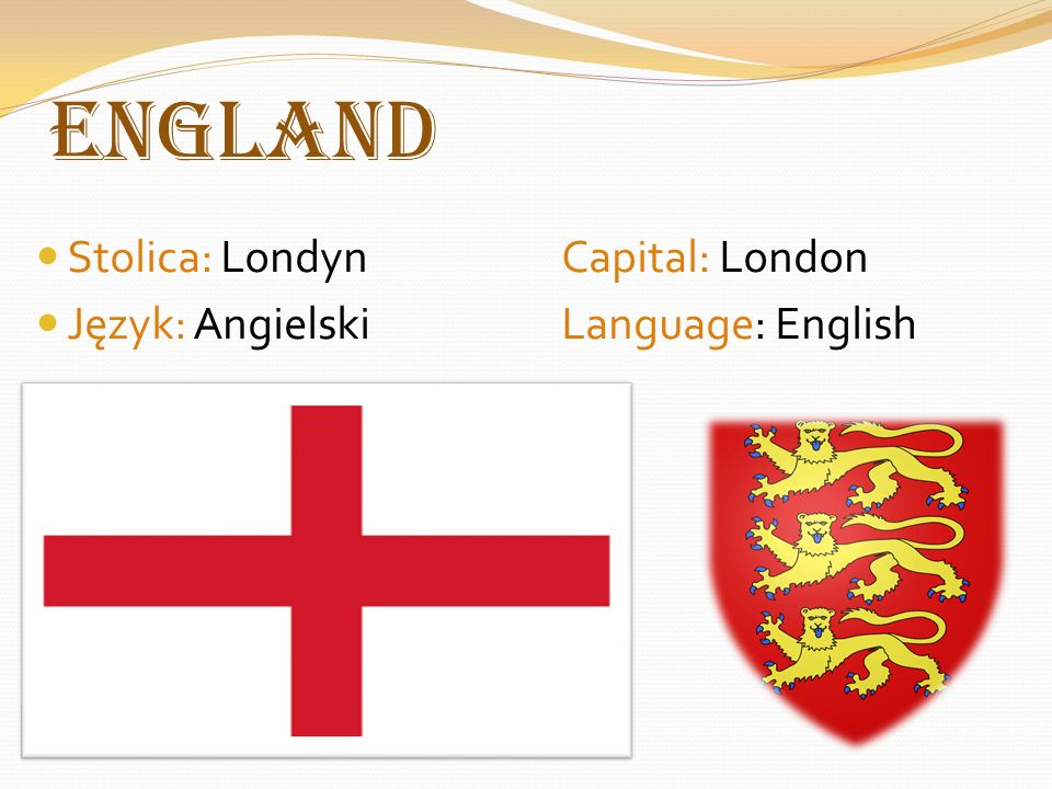 England Stolica: LondynCapital: London Język: AngielskiLanguage: English