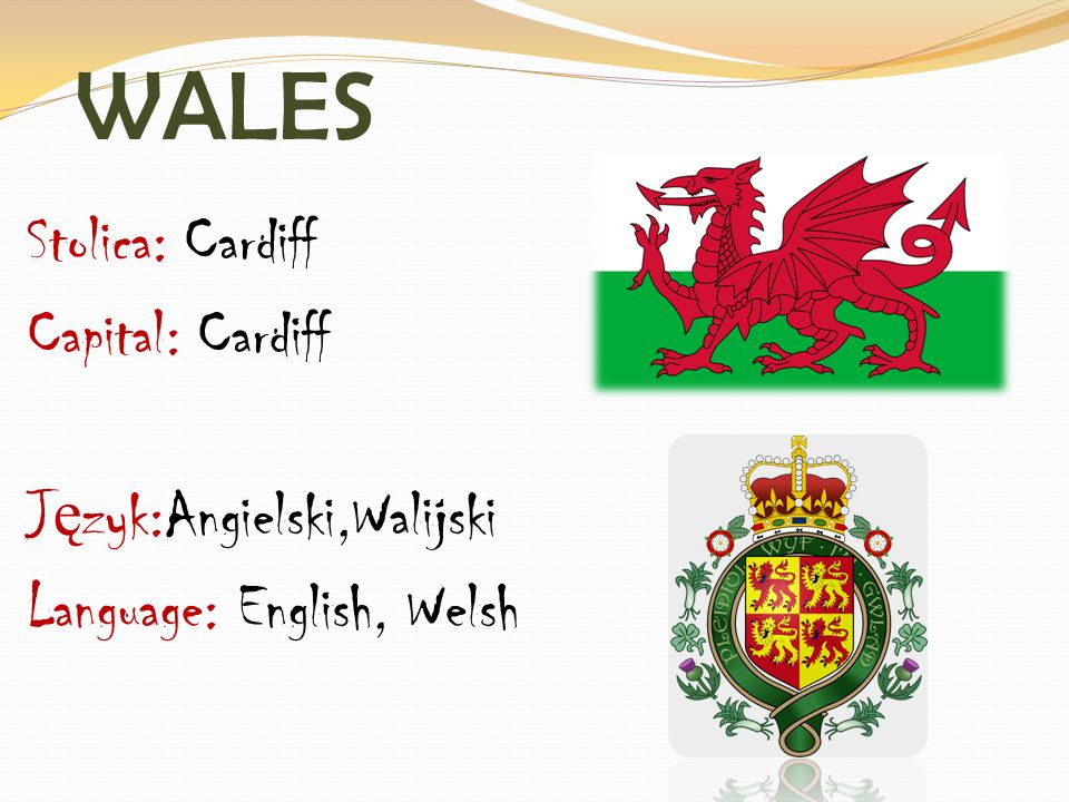 WALES Stolica: Cardiff Capital: Cardiff J ę zyk:Angielski,Walijski Language: English, Welsh