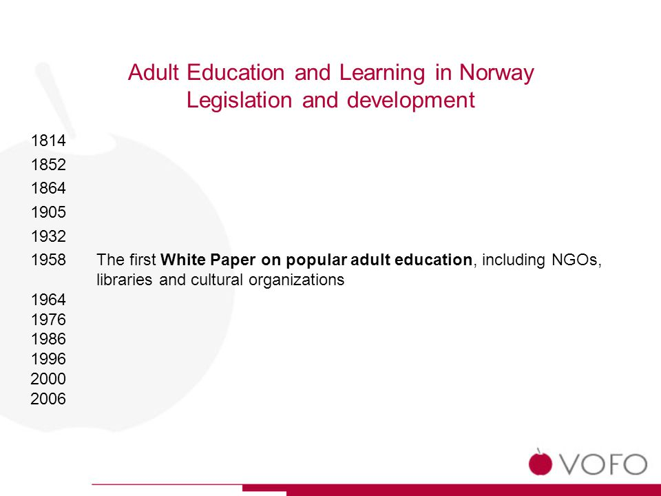 Adult Education and Learning in Norway Legislation and development 1814 1852 1864 1905 1932 1958The first White Paper on popular adult education, including NGOs, libraries and cultural organizations 1964 1976 1986 1996 2000 2006