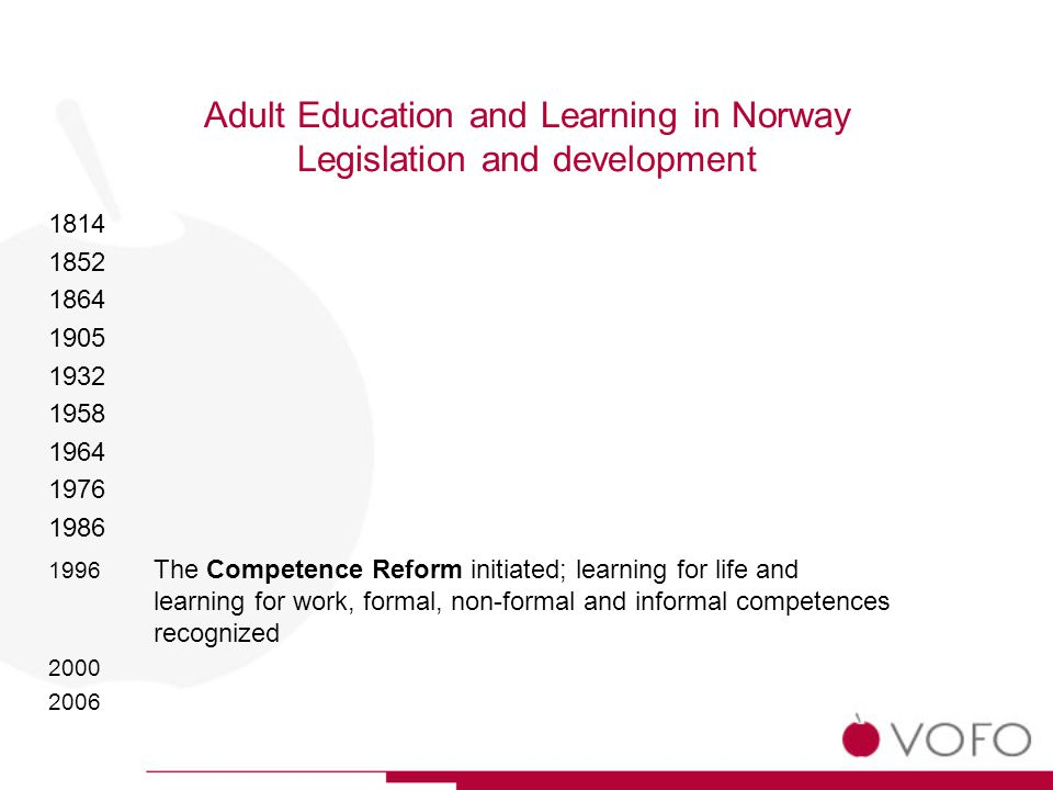 Adult Education and Learning in Norway Legislation and development 1814 1852 1864 1905 1932 1958 1964 1976 1986 1996 The Competence Reform initiated; learning for life and learning for work, formal, non-formal and informal competences recognized 2000 2006
