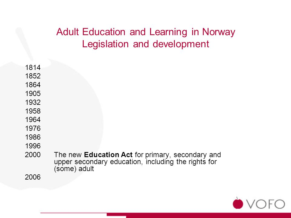 Adult Education and Learning in Norway Legislation and development 1814 1852 1864 1905 1932 1958 1964 1976 1986 1996 2000The new Education Act for primary, secondary and upper secondary education, including the rights for (some) adult 2006